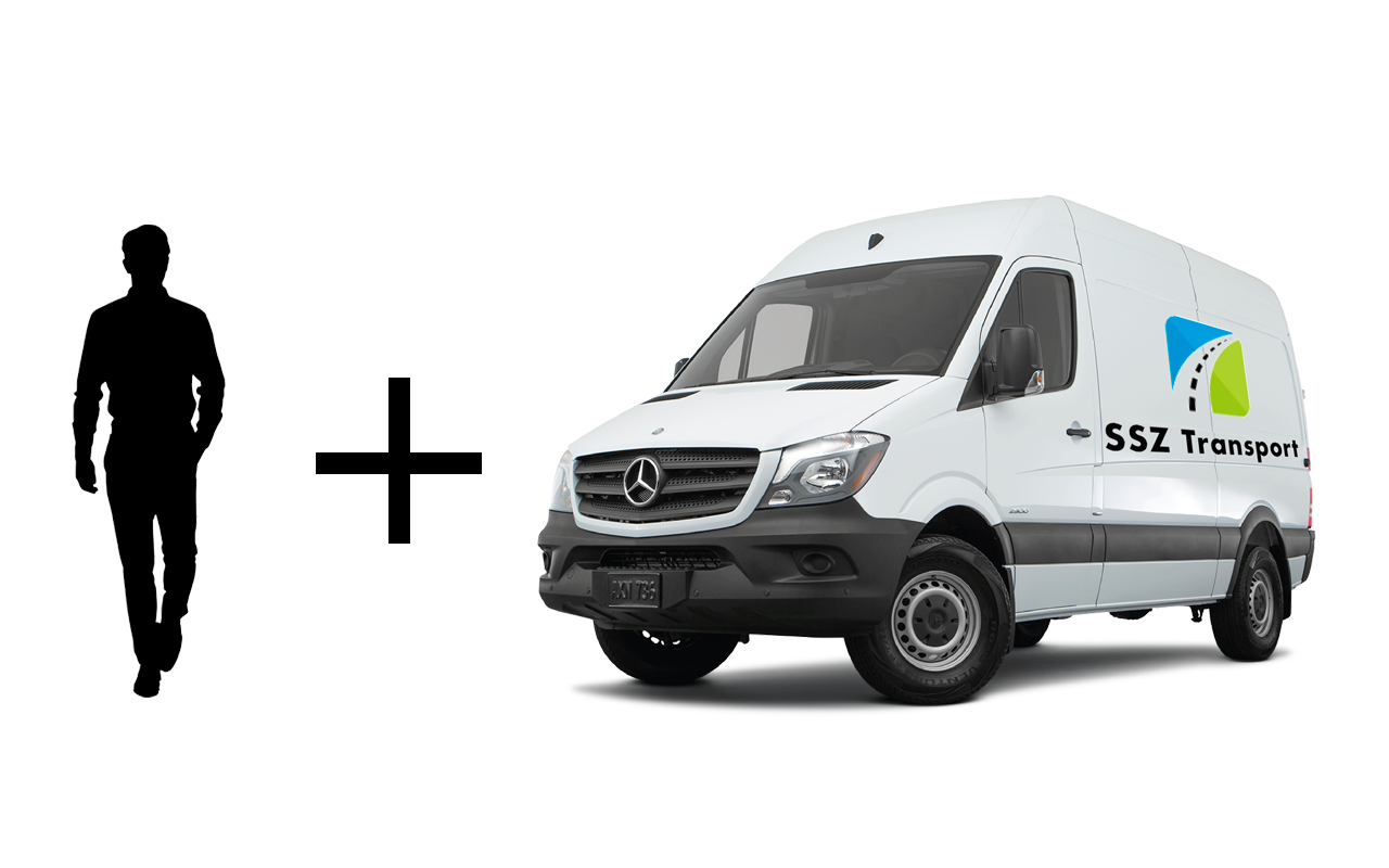 SSZ Transport Fahrzeug und ein Mitarbeiter